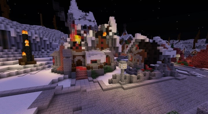 Twisted Christmas village minecraft building idea holiday gift present tree cottage giner bread houses town center 9