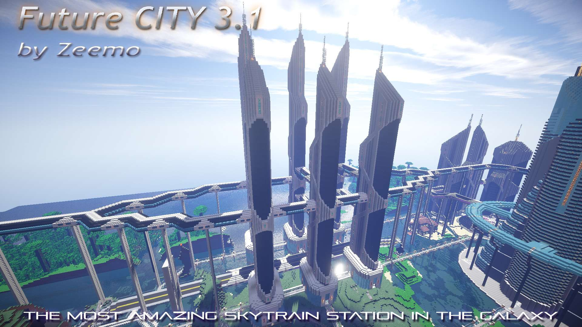 minecraft future city by zeemo 31 skyscrapers tall