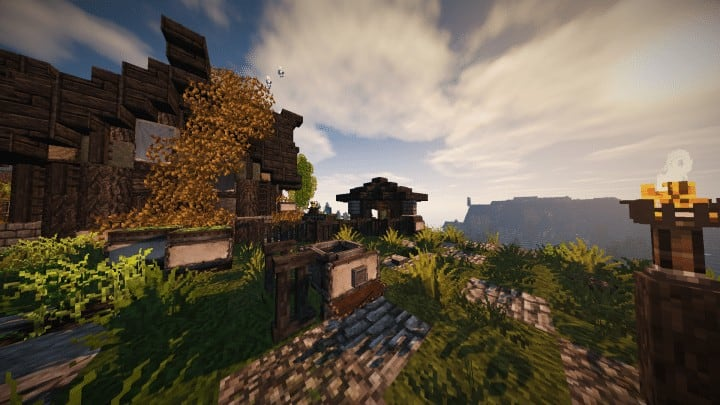 Riverbend Medieval House minecraft cottage build ideas download save terrain 4