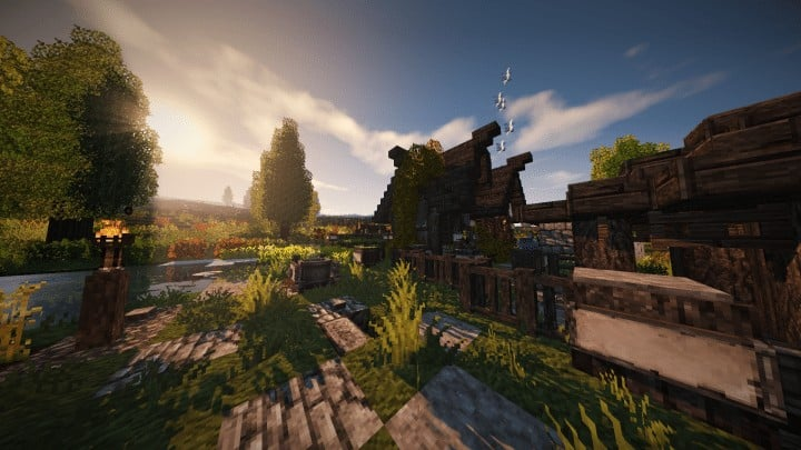Riverbend Medieval House minecraft cottage build ideas download save terrain 5