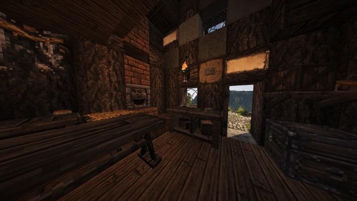Riverbend Medieval House minecraft cottage build ideas download save terrain 9