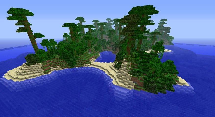 Jungle Oasis Minecraft seed island amazing beautiful 1.4