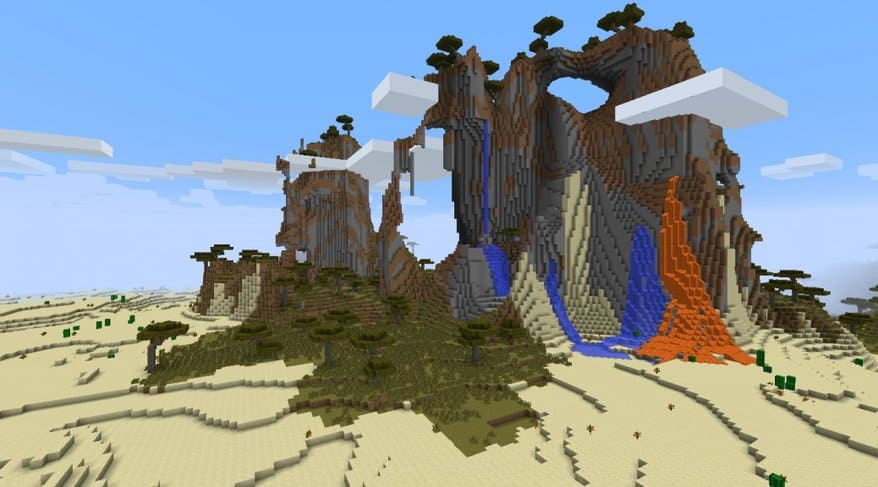 Lava-filled Desert Mountain with Splash of Greenery Minecraft seed 1.8