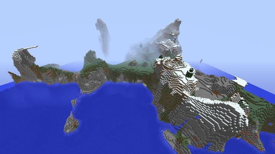 Mountainous Snowy Island minecraft world seed create 1.8.8