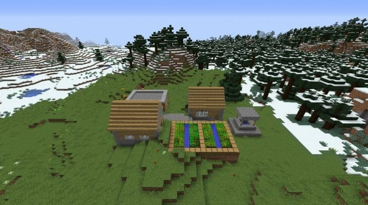 Village Surrounded by Snow Minecraft world seed 1.8.3