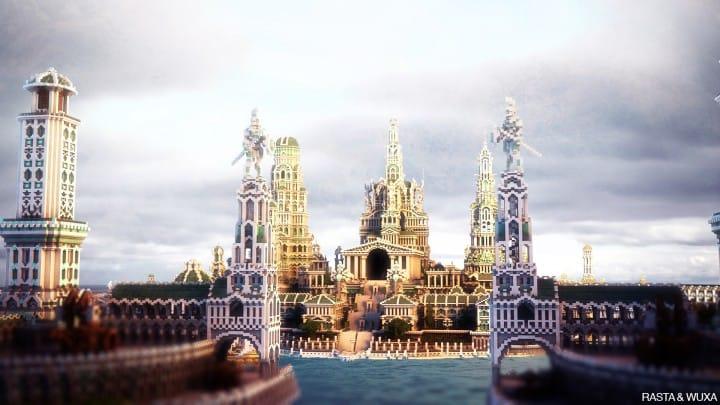 ATLANTIDE island castle church cathedral bridge ocean wall building ideas minecraft amazing awesome 5