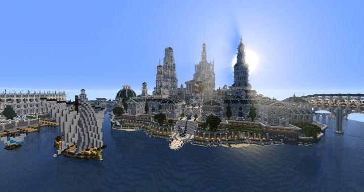 ATLANTIDE island castle church cathedral bridge ocean wall building ideas minecraft amazing awesome 6