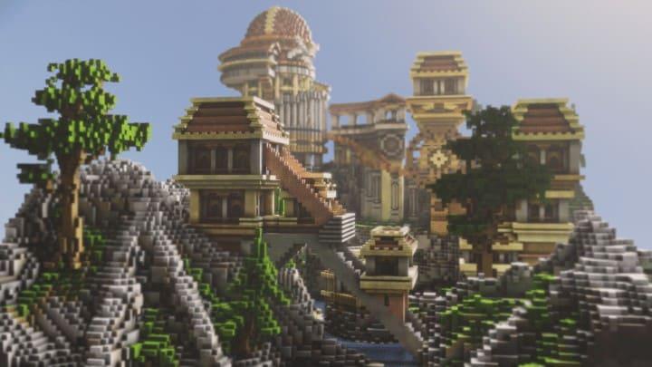 Heatvale Minecraft building ideas inspiration mountains temple fantacy