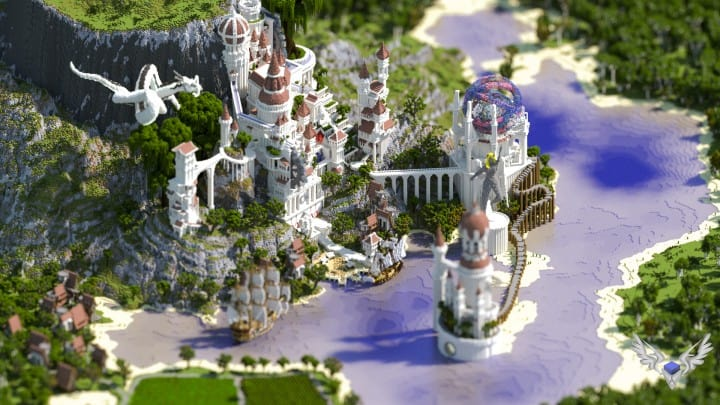 Monument Valley castle terrain download save minecraft building ideas pack 5