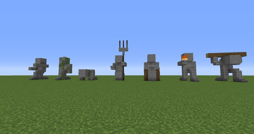 01 - Minecraft small statues for worlds easy to build