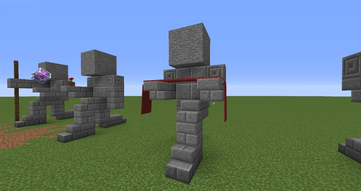 03 - Small Kneeling Statues easy build for miencraft ideas