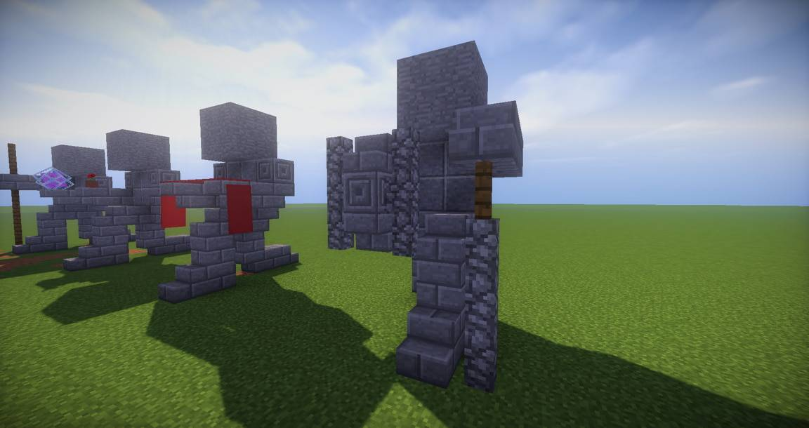 07 - Small Kneeling Statues easy build for miencraft ideas