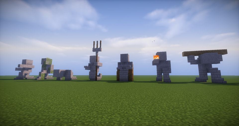 09 - Minecraft small statues for worlds easy to build
