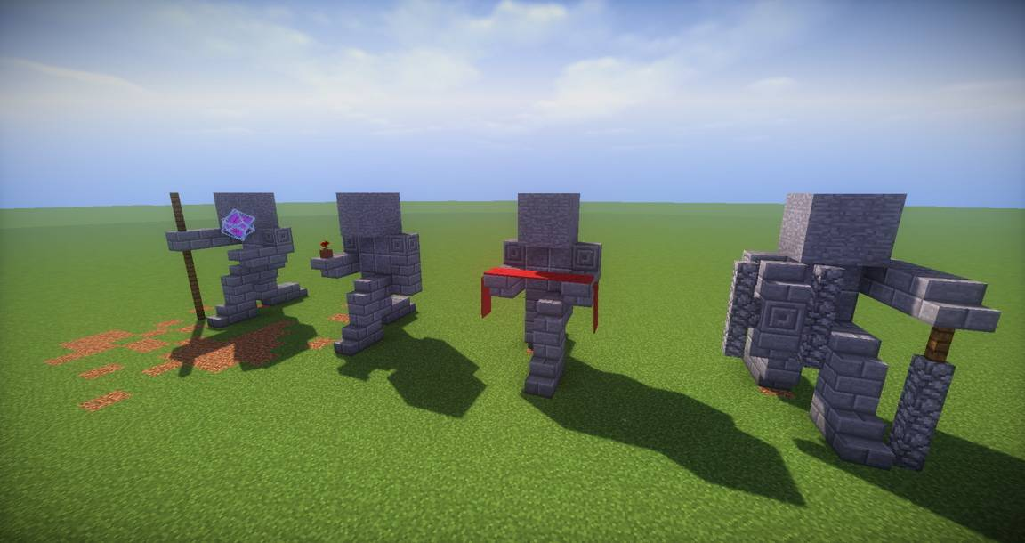 11 small kneeling statues easy build for miencraft ideas - Minecraft Design Ideas