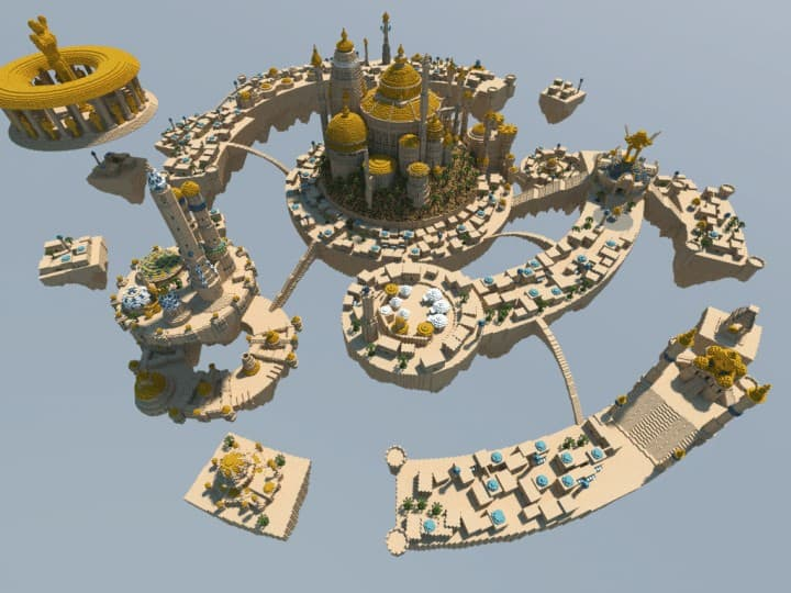 Al-Safir Academy's town homm V Floating Minecraft building ideas castle temple islands amazing crazy 3