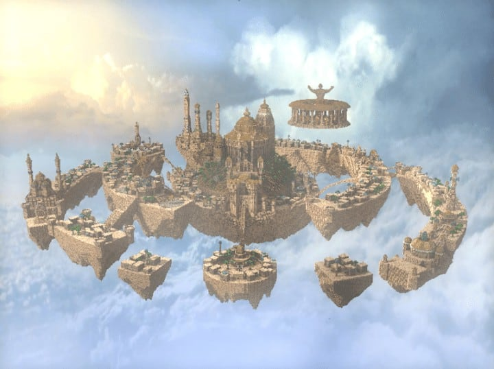 Al-Safir Academy's town homm V Floating Minecraft building ideas castle temple islands amazing crazy