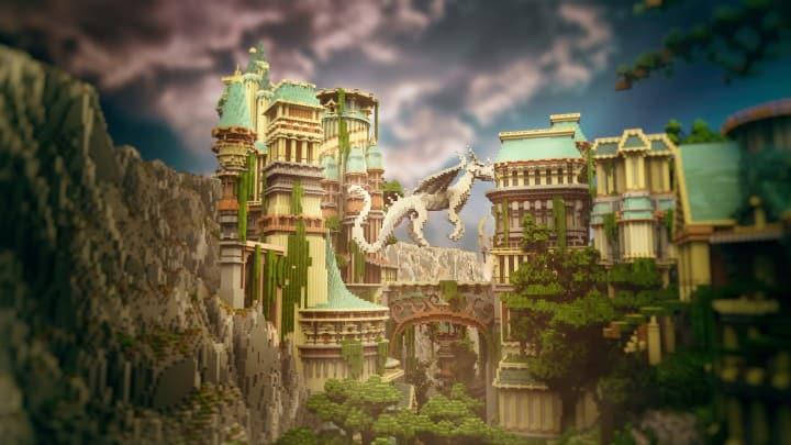 Dividing Valley dragon statue brige valley cliff amazing temple castle rock crack 2