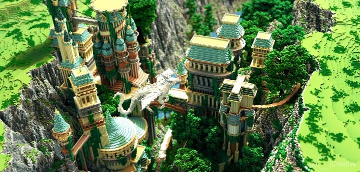 Dividing Valley dragon statue brige valley cliff amazing temple castle rock crack 3