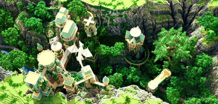 Dividing Valley dragon statue brige valley cliff amazing temple castle rock crack 5