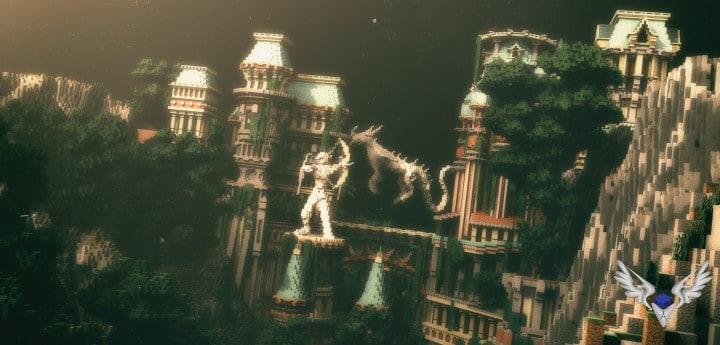 Dividing Valley dragon statue brige valley cliff amazing temple castle rock crack 6
