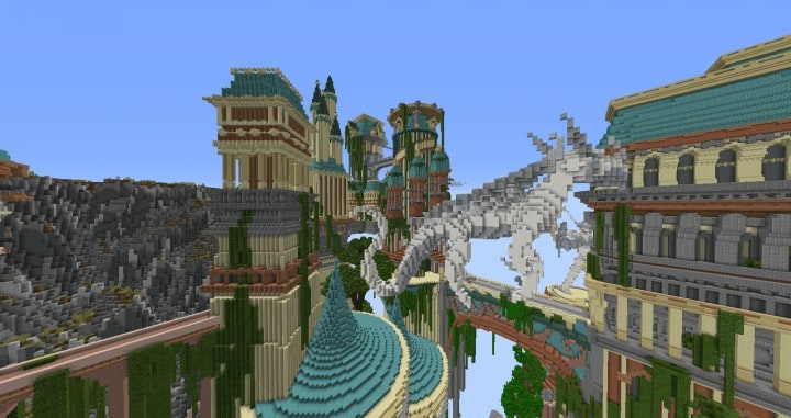Dividing Valley dragon statue brige valley cliff amazing temple castle rock crack 8