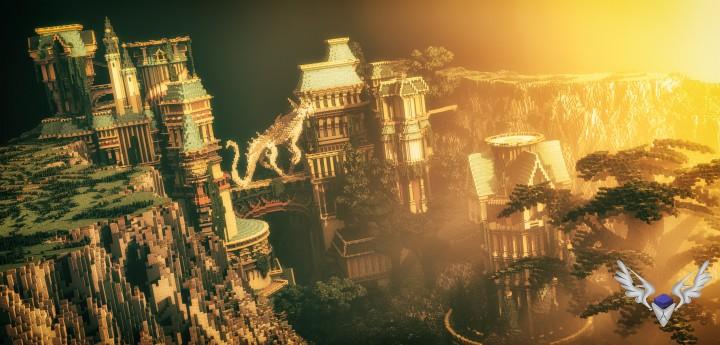 Dividing Valley dragon statue brige valley cliff amazing temple castle rock crack