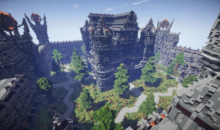 Epic Evil Themed Medieval Faction Spawn Free Large castle trees Minecraft building ideas server 2