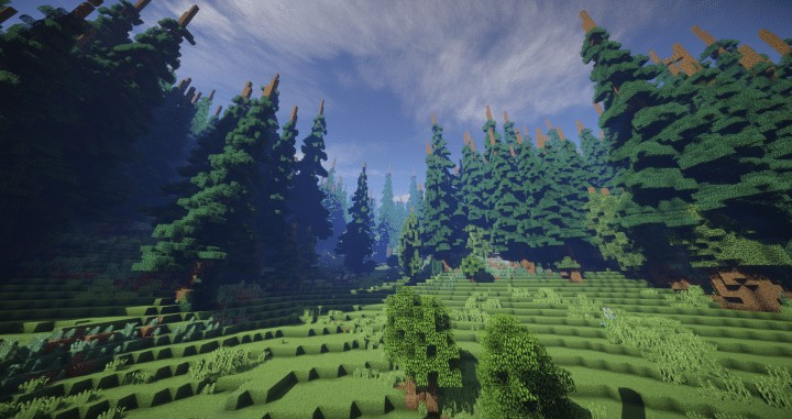 Hiraen 2k x 2k Terrain tall pine trees custom amazing minecraft building ideas world painter world machine 2