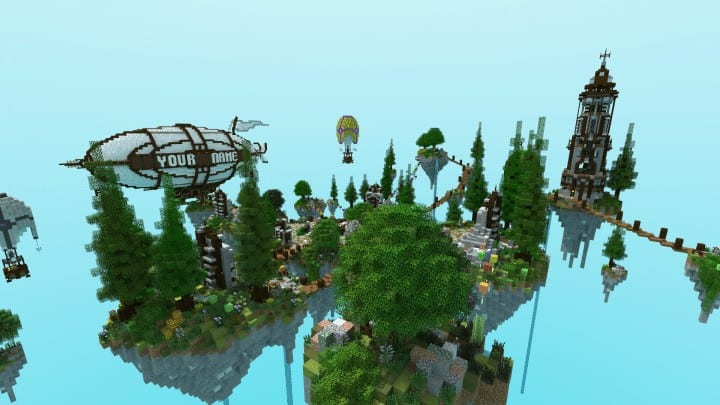 Spawn Hub Glorious Downfall download save minecraft floating islands free amazing bridges 10