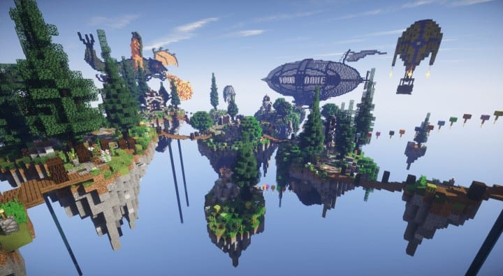 Spawn Hub Glorious Downfall download save minecraft floating islands free amazing bridges 2