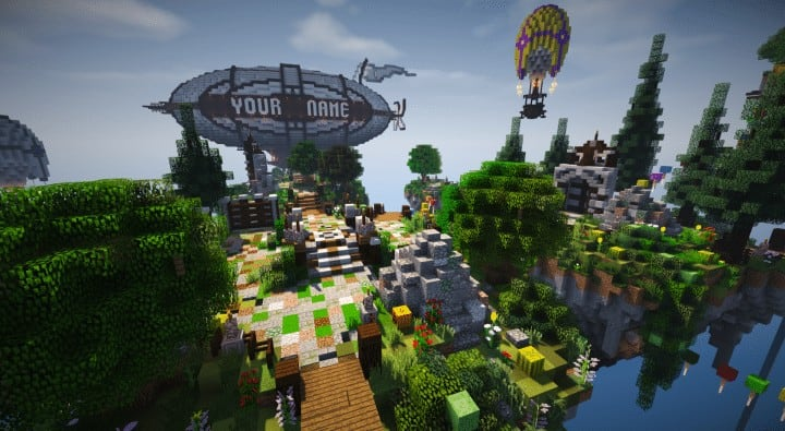 Spawn Hub Glorious Downfall download save minecraft floating islands free amazing bridges 3
