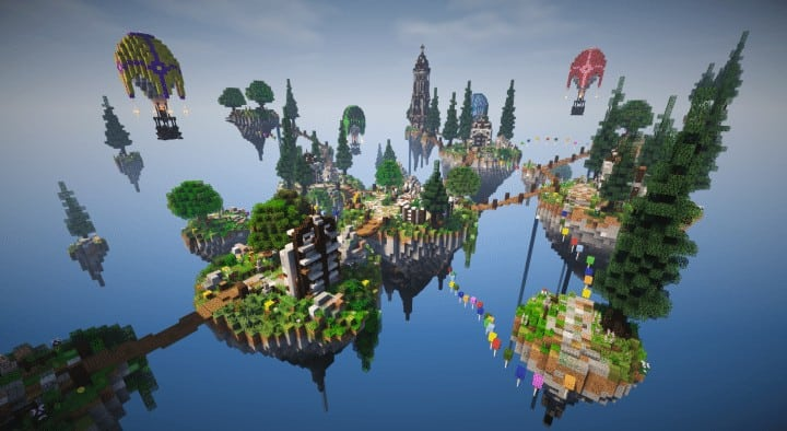 Spawn Hub Glorious Downfall download save minecraft floating islands free amazing bridges 4