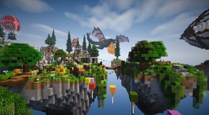 Spawn Hub Glorious Downfall download save minecraft floating islands free amazing bridges 5