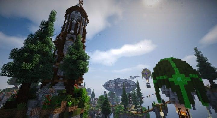 Spawn Hub Glorious Downfall download save minecraft floating islands free amazing bridges 8
