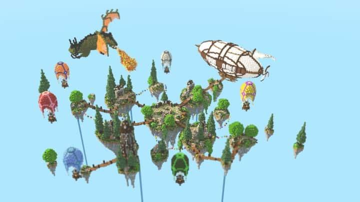 Spawn Hub Glorious Downfall download save minecraft floating islands free amazing bridges 9