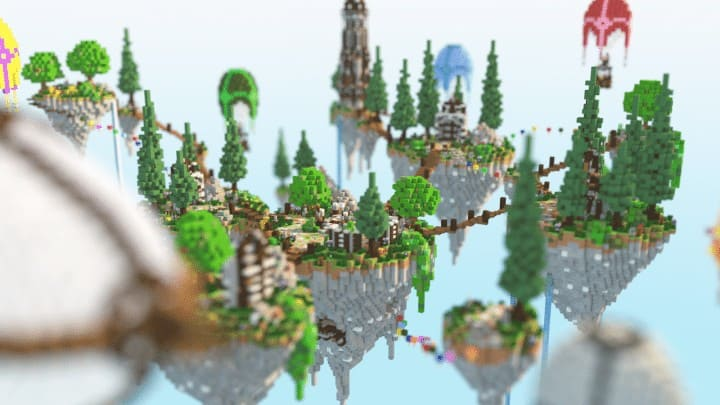 Spawn Hub Glorious Downfall download save minecraft floating islands free amazing bridges
