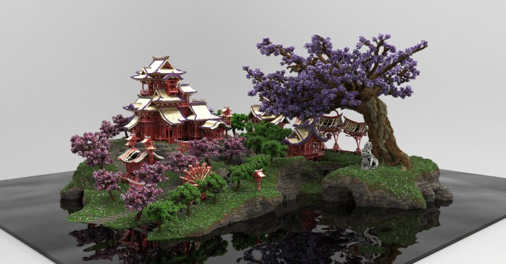 April cherry tree Sakura Island japanese style beautiful download save minecraft building 2