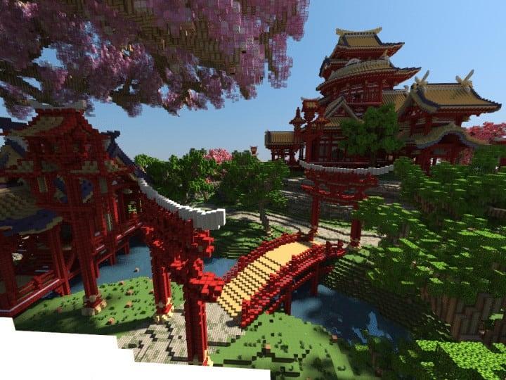 April cherry tree Sakura Island japanese style beautiful download save minecraft building 4