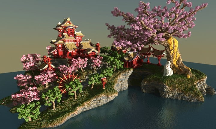 april cherry tree sakura island japanese style beautiful download save minecraft building