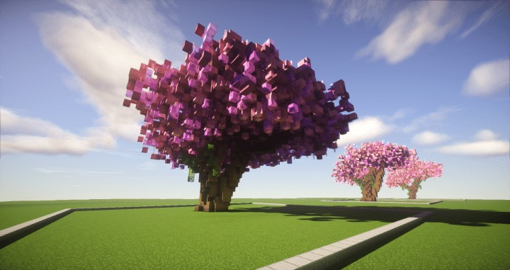 Cherry Trees Bundle 9 Cherry Trees total download save schematic amazing pink colorful pack Minecraft Building Landscape 3