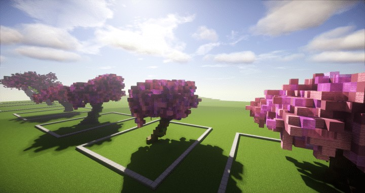 cherry trees bundle 9 cherry trees total download save schematic amazing pink colorful pack minecraft building