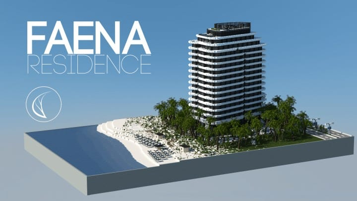 Faena  Residence beach palm trees house complete ocean lake water tower