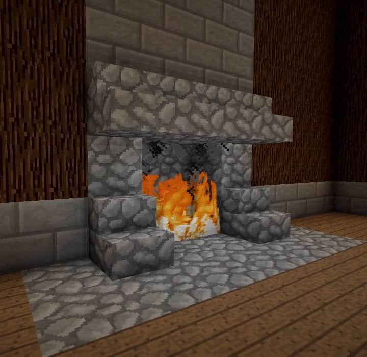Rustic fireplace with mantle minceraft build ideas interior