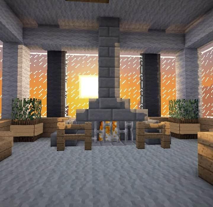 central fireplace slim easy interior minecraft - Copy