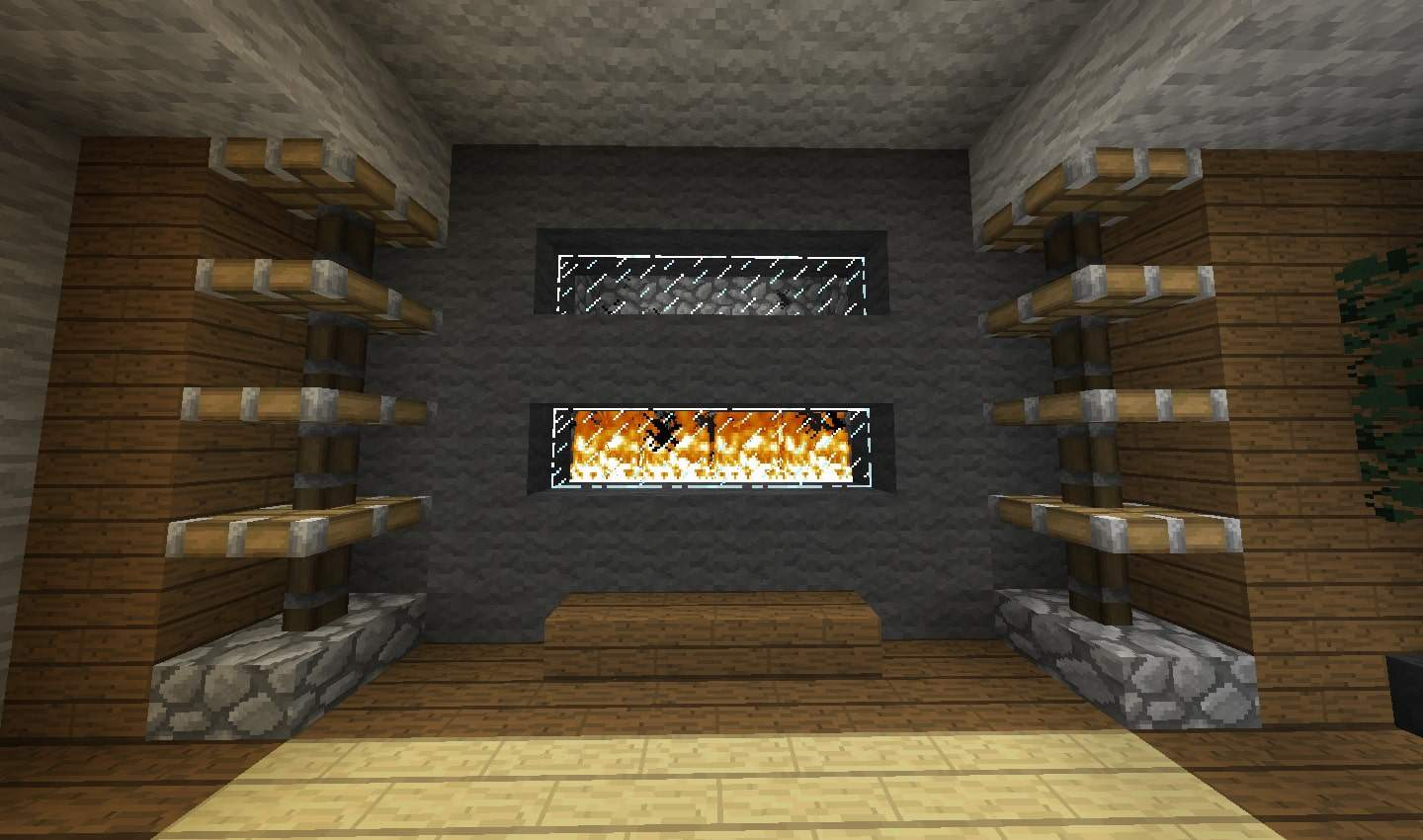 duel window fireplace design minecraft building interior shelves seat