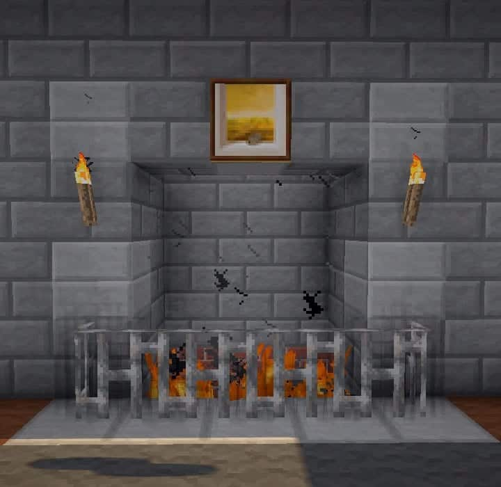 minceraft building ideas alcove style fireplace