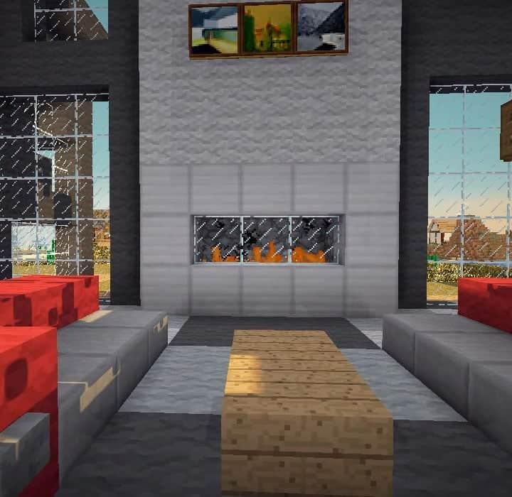 modern simple fireplace mincraft interior ideas - Copy