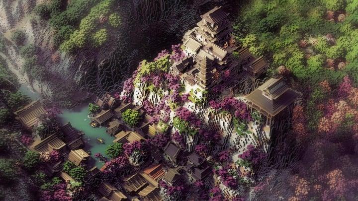 Project Kuni no tori, a japanese citadel minecraft building ideas download save amazing 2