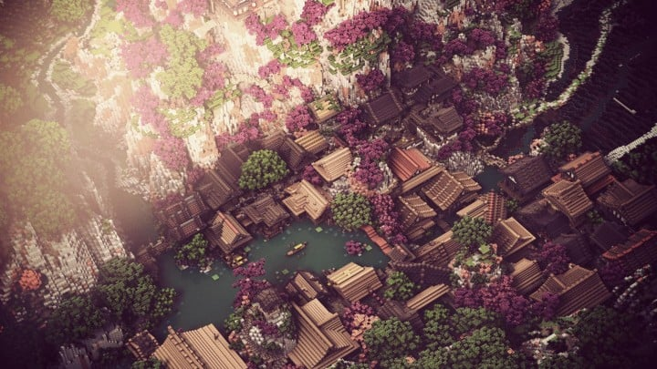Project Kuni no tori, a japanese citadel minecraft building ideas download save amazing 3