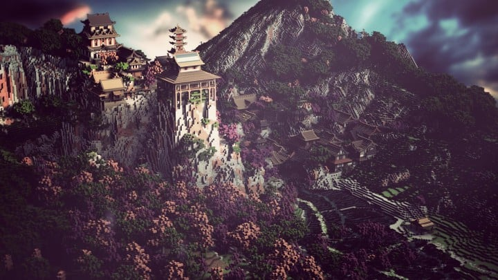 Project Kuni no tori, a japanese citadel minecraft building ideas download save amazing 4